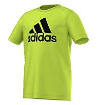 Adidas T-Shirt YB ESS Logo Tee bambino, Semi Solar Slime/Black