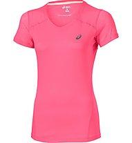 Asics Fuzex V-Neck SS Top Damen Sport Top, Pink
