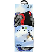 Hot Stuff 2-Pack Ski Sock, Grey/Blue/Black