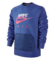 Nike AW77 Fleece Hybrid Sweatshirt felpa, Game Royal/HTR/Bright Crimson
