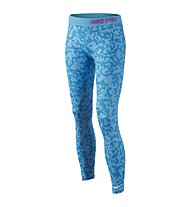 Nike Pro Allover Print Tight Mädchen, Blue Lagoon/Pink Pow/White