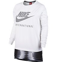 Nike Women International Top Maglia a maniche lunghe fitness donna, White