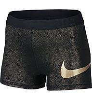 Nike Pro Cool Gold Trainingsshorts Damen, Black/Metallic Gold
