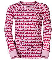Odlo Warm Kids Shirt l/s Pants long Set Unterwäsche Komplet für Kinder, Sangria/Winterrose