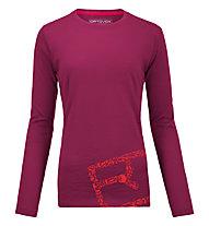 Ortovox 185 Equipment Logo Long Sleeve maglia manica lunga merino donna, Dark very berry