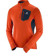 Salomon Trail Runner Warm Mid M - maglia running, Orange/Blue