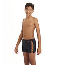 Speedo Monogram Aquashort Badehose Kinder, Navy/Dark Orange