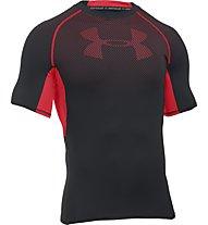 Under Armour UA HeatGear Armour Printed Compression Herren Kompressionsshirt kurz, Black