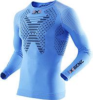 X-Bionic Twyce Running Shirt Long - maglia running, Light Blue/Black